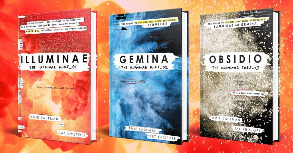 """Copertine dei libri della serie """"Illuminae files""""."""