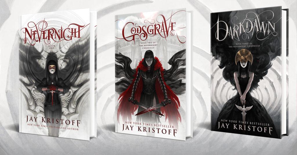 """Copertine dei libri della serie """"Nevernight"""" nella versione americana."""