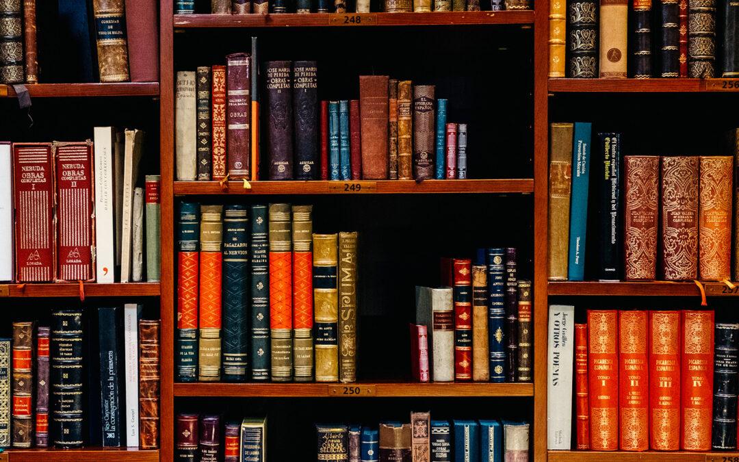 Libreria in legno vista frontalmente piene di libri