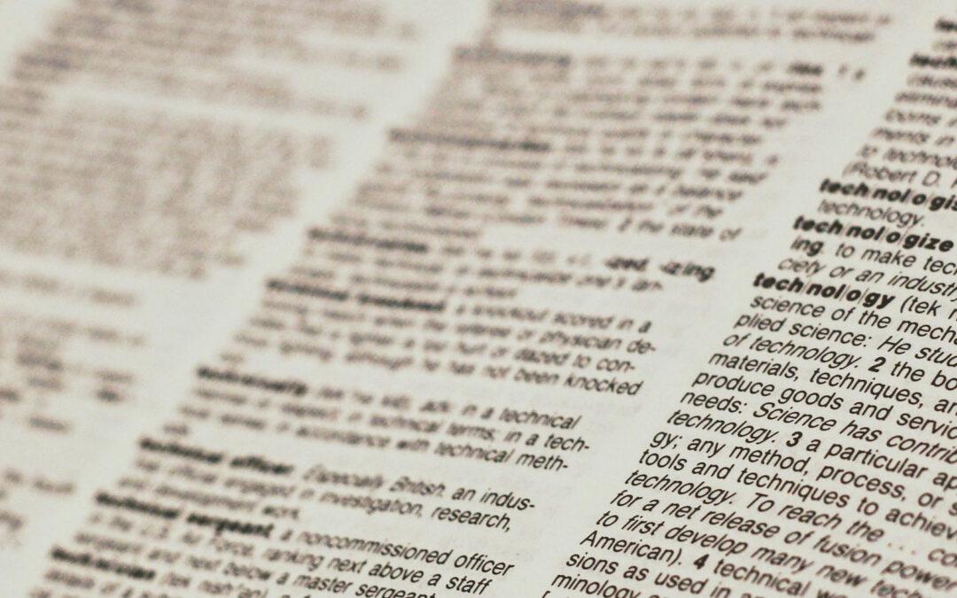 Pagina di un dizionario inglese
