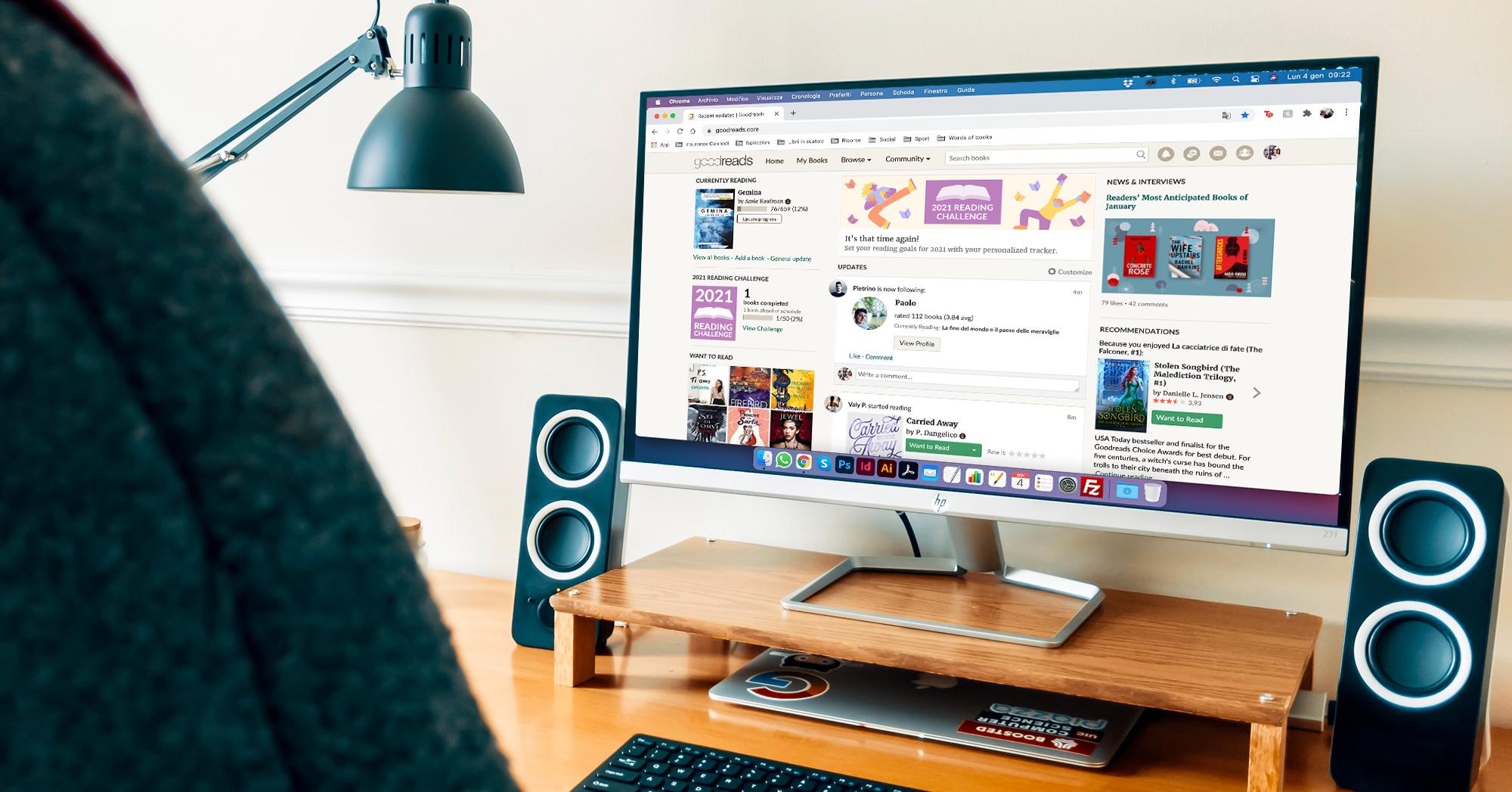 Schermo del computer con l'home page del social network Goodreads