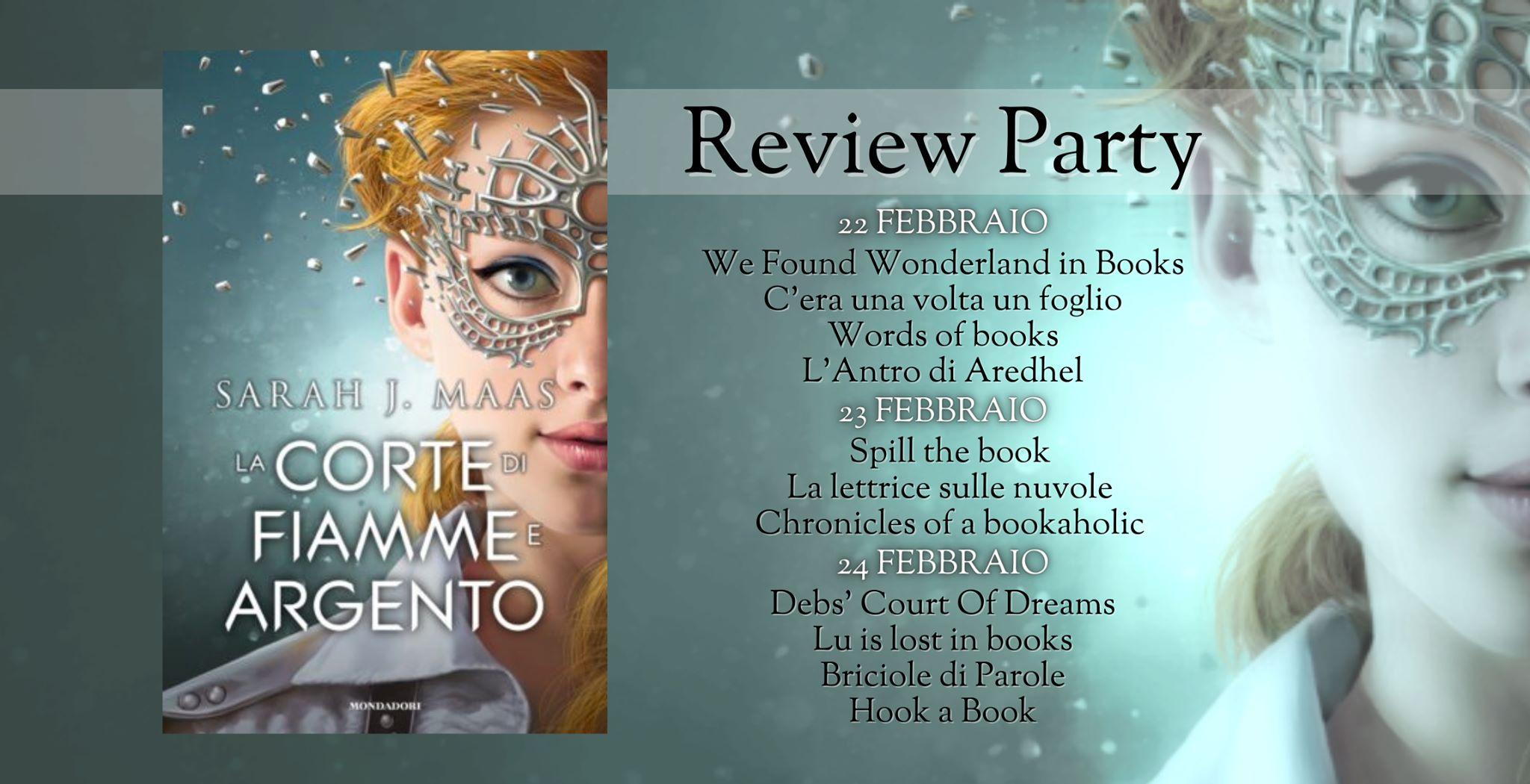"Calendario del review party dedicato al libro ""La corte di fiamme e argento"" di Sarah J. Maas"
