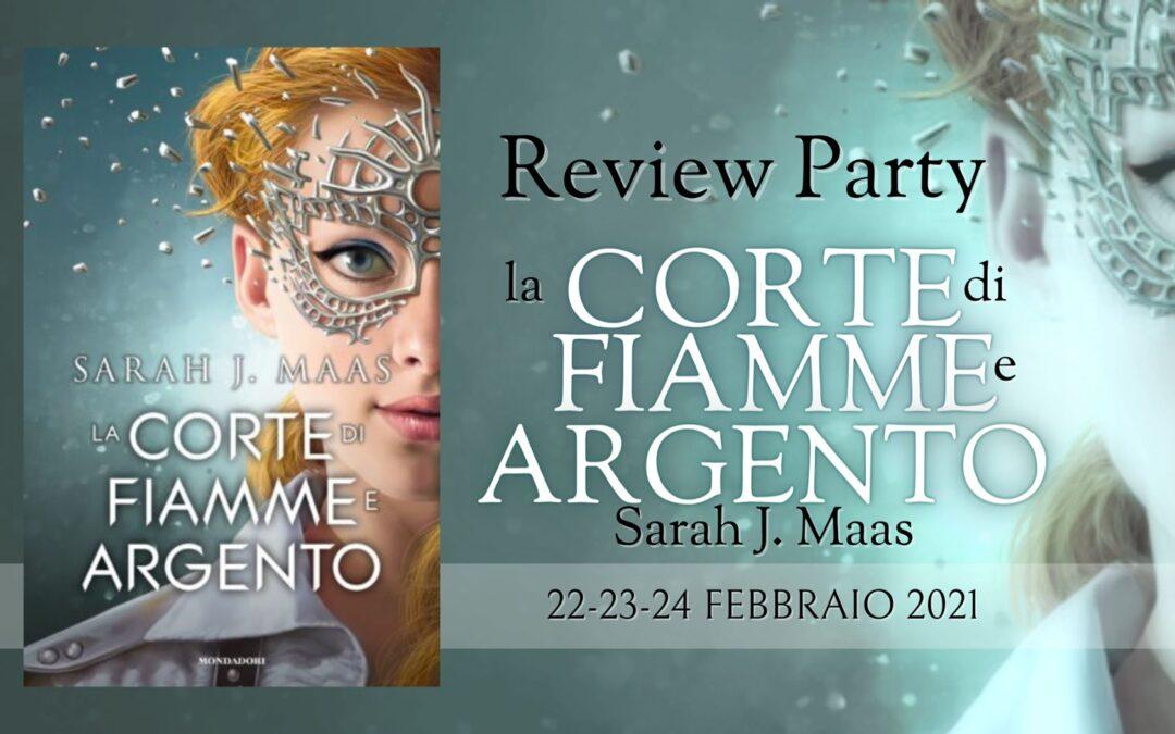"""Banner di presentazione del review party dedicato a """"La corte di fiamme e argento"""""""